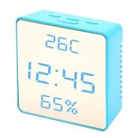 Часы сетевые VST-887Y-5, голубые, температура, влажность, USB. 32858
