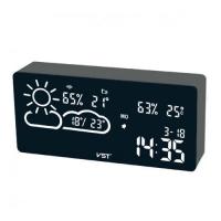 Часы сетевые VST-882-6, белые, температура, влажность, WI-FI, USB. 32855