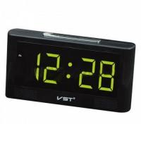 Часы сетевые VST-732Y-4, зеленые, температура, USB. 32833