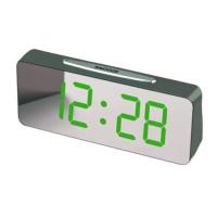 Часы сетевые VST-763Y-4, зеленые, температура, USB. 32838