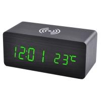 Часы сетевые VST-889-4, зеленые, беспроводная зарядка, температура, USB. 32859