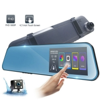 """Автомобильный видеорегистратор-зеркало Lux 1031, LCD 4.3"""", 2 камеры, 1080P Full HD. 31686"""