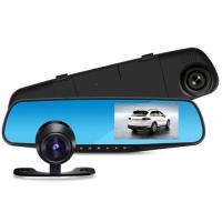 Автомобильный видеорегистратор-зеркало Lux L-9002, LCD 4.3'', 2 камеры, 1080P Full HD. 31688