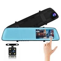 "Автомобильный видеорегистратор-зеркало Lux L-9003, LCD 4.3"", TOUCH SCREEN, 2 камеры, 1080P Full HD. 31689"
