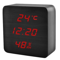 Часы сетевые VST-872S-1, красные, температура, влажность, USB. 32849