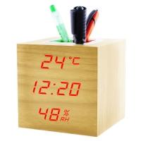 Часы сетевые VST-878S-1, красные, температура, влажность, USB. 32852