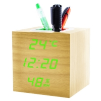 Часы сетевые VST-878S-4, зеленые, температура, влажность, USB. 32853