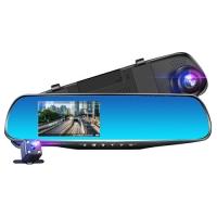 Автомобильный видеорегистратор-зеркало Lux L-9004, LCD 3.5'', 2 камеры, 1080P Full HD. 31690