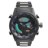 Часы наручные QUAMER 1512, браслет карбон, dual time, waterproof. 32781