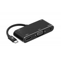 Концентратор 2E Type C to USB 3.0+AUX+HDMI+VGA+USB Type C, 0.15m, black (2E-W1408). 41788