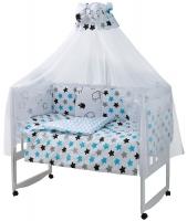 Детская постель Babyroom Classic Bortiki-01 (8 элементов)  белый (барашки, звездочки). 33393