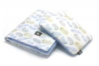 Плед с подушкой Cottonmoose Cotton Velvet 408/83/122 голубой (перья) с голубым (бархат). 34561