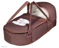 Люлька-переноска Babyroom BLA-056 с твердым дном аппликация  шоколад (мордочка мишки штопаная). 34146