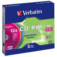 Диск CD Verbatim 700Mb 12X SlimBox 5шт Color (43167). 48117