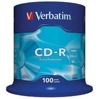Диск CD Verbatim 700Mb 52x Cake box 100шт Extra (43411). 48116