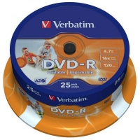 Диск DVD Verbatim 4.7Gb 16X CakeBox 25шт Printable (43538). 48106