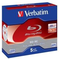 Диск BD Verbatim BD-RE 25Gb 2x Jewel 5шт Hard Coat (43615). 46417