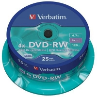Диск DVD Verbatim 4.7Gb 4x CakeBox 25 шт silver (43639). 48123