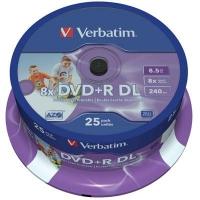 Диск DVD Verbatim 8.5Gb 8X CakeBox 25шт Printable (43667). 48118