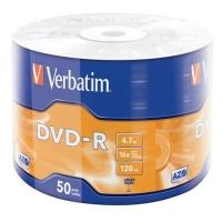 Диск DVD Verbatim 4.7Gb 16X Wrap-box 50шт MATT SILVER (43788). 48093