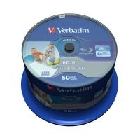Диск BD Verbatim 25Gb 6x Cacke 50шт Wide Inkjet Printable SL Datalife (43812). 46418