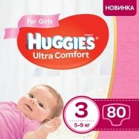 Подгузник Huggies Ultra Comfort 3 Mega для девочек (5-9 кг) 80 шт (5029053543604). 48576