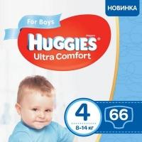 Подгузник Huggies Ultra Comfort 4 Mega для мальчиков (8-14 кг) 66 шт (5029053543611). 48577