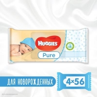 Влажные салфетки Huggies Pure 56 х 4 шт (5029053550121). 45708