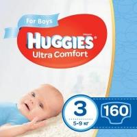 Подгузник Huggies Ultra Comfort 3 Mega для мальчиков (5-9 кг) 160 шт (80x2) (5029054218099). 47977