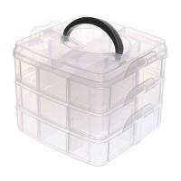 Коробка органайзер кейс для снастей бисера 150х150x125мм 3 уровня 18 ячеек F&D. 49360