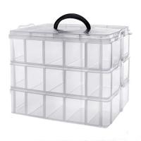 Коробка органайзер кейс для снастей бисера 240х160х180мм 3 уровня 30 ячеек F&D. 49361