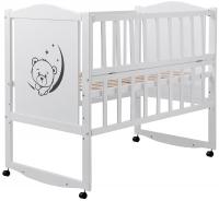 Детская кровать Babyroom Тедди T-01 фигурное быльце, откидной бок, колеса  белый. 31009