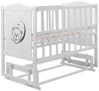 Детская кровать Babyroom Тедди Т-02 фигурное быльце, маятник, откидной бок  белый. 31010