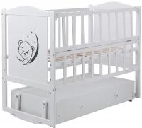 Детская кровать Babyroom Тедди Т-03 фигурное быльце, маятник, ящик, откидной бок  белый. 31011