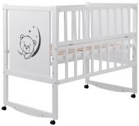 Кровать Babyroom Тедди TР-01 ровное быльце, откидной бок, колеса  белый. 34104