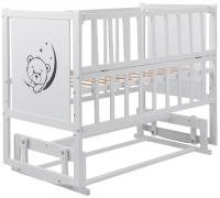 Кровать Babyroom Тедди ТР-02 ровное быльце, маятник, откидной бок  белый. 34105