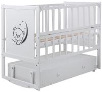 Кровать Babyroom Тедди ТР-03 ровное быльце, маятник, ящик, откидной бок  белый. 34106