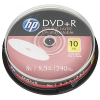 Диск DVD HP DVD+R 8.5GB 8X DL IJ PRINT 10шт Spindle (69306/DRE00060WIP-3). 48124
