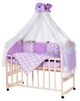 Детская постель Babyroom Bortiki lux-08 bird сиреневый - белый. 33378