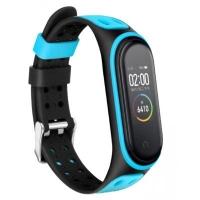 Ремешок для фитнес браслета BeCover Colour Style для Xiaomi Mi Smart Band 5 Black-Blue (705154). 45631