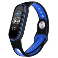 Ремешок для фитнес браслета BeCover Sport Style для Xiaomi Mi Smart Band 5 Black-Deep Blue (705166). 45632