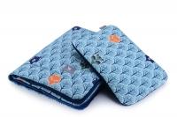 Плед с подушкой Cottonmoose Cotton Velvet 408/86/145 cotton velvet dark navy (голубой (лесные животные) с темно-синим (бархат)). 34563