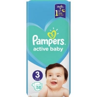 Подгузник Pampers Active Baby Midi Размер 3 (6-10 кг), 58 шт. (8001090949707). 47913