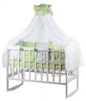 Детская постель Babyroom Bortiki lux-08 stars салатовый - белый. 33383
