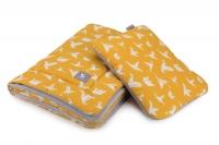 Плед с подушкой Cottonmoose Cotton Velvet 408/85/117 origami cotton velvet gray (оранжевый (оригами) с серым (бархат)). 34562