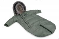 Зимний детский комбинезон - трансформер Cottonmoose Moose 0-6 M 767/141 jungle green (хаки). 31300