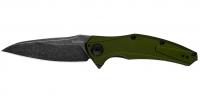 Нож KAI Kershaw Bareknuckle Black Blade. Цвет - олива. 17400427