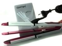 Утюжок выпрямитель плойка для укладки волос гофре 3 в 1 Gemei GM 2966, бело-розовая. 48799