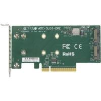 Плата расширения Supermicro PCIe x8 до SSD 2x m.2 NVMe (AOC-SLG3-2M2). 47012