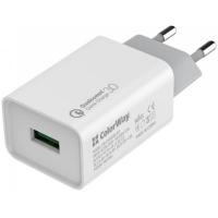 Зарядное устройство ColorWay 1USB Quick Charge 3.0 (18W) (CW-CHS013Q-WT). 44930